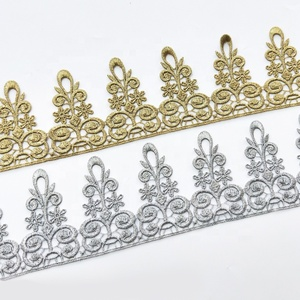 Wholesale gold african french embroidered lace fabric trim silver embroidered lace ribbon