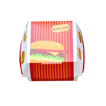 SGS /FSC Disposable printing foldable custom printed burger box,paper cardboard burger box for fast food