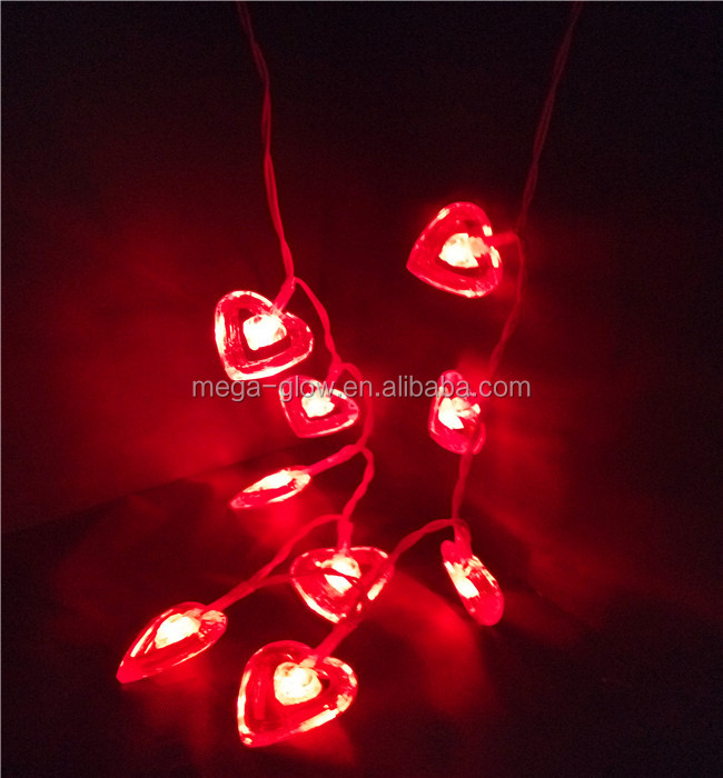 2017 China factory love heart gifts LED Light love LED necklace decoration valentine day gifts