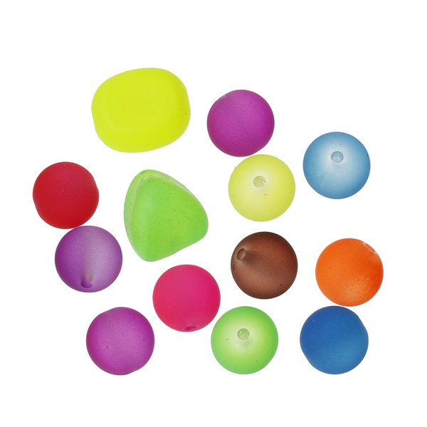 Acrylic Spacer Beads Rubber Neon At Random About 14mm x 14mm-12mm,Hole:Approx 3mm-1.8mm,100Grams