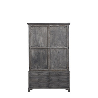 ANTIQUE HOUSE Vintage classic reproduction antique painted distressed grey cabinet recycled solid pine wooden antique furniture