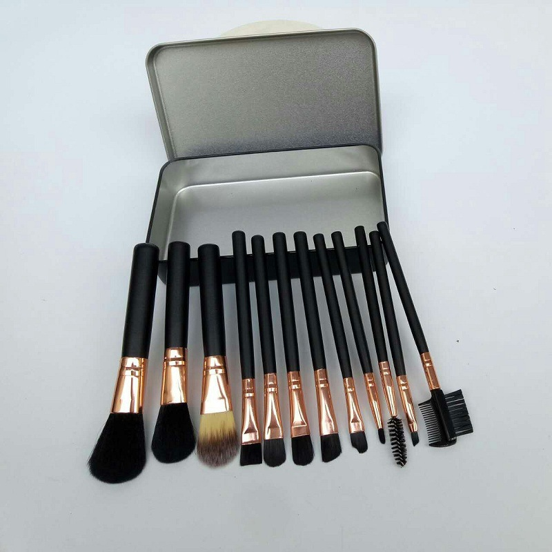 High quality 12pcs wood black handle synthetic Hair cosmetic eyebrow eye mascara makeup brush <strong>set</strong> make <strong>up</strong> brushes with iron <strong>box</strong>