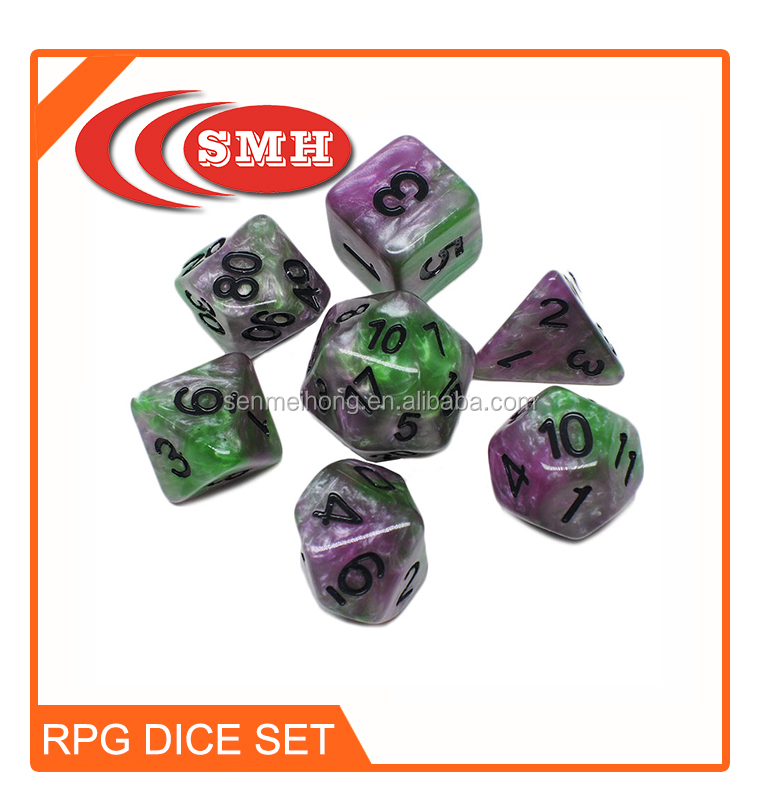 Milk White Plastic Polyhedral Dice Set with 7 Dice for MIT Games