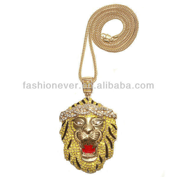 "BIG ICED OUT Crystal Rhinestone LION HEAD PENDANT w/ 30"" & 36"" CHAIN NECKLACE HIP HOP Jewelry"