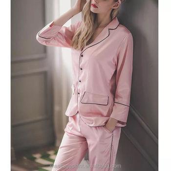 1b19e65ba291 Ladies Sexy Nighty Luxury Silk Satin Pajama Women Famous Brand Beautiful  Patterns Shirt Blouses and Long
