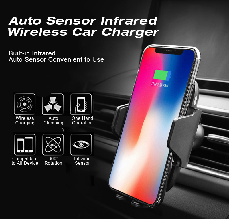 Amazon Best seller Intelligent Automatic Electric Car Wireless Infrared induction 10W fast charger  For Windshield Used