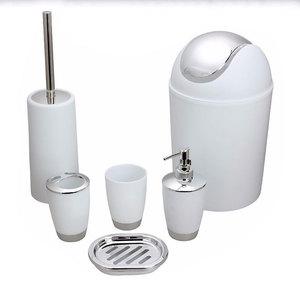 High Grade 6Pcs Toilet Brush Holder Soap Dish Tray Bathroom Accessory Bath Set