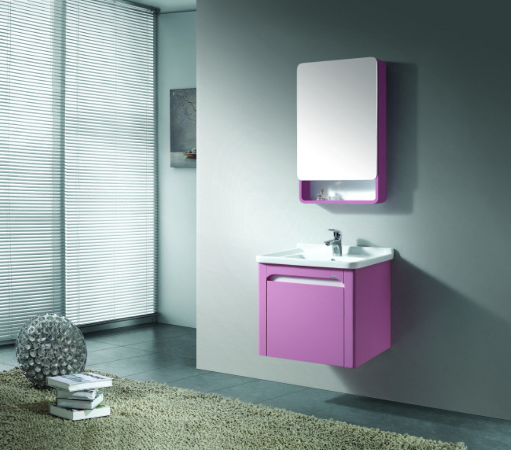 Wall Mounted Single Sink Pink Bathroom Vanity