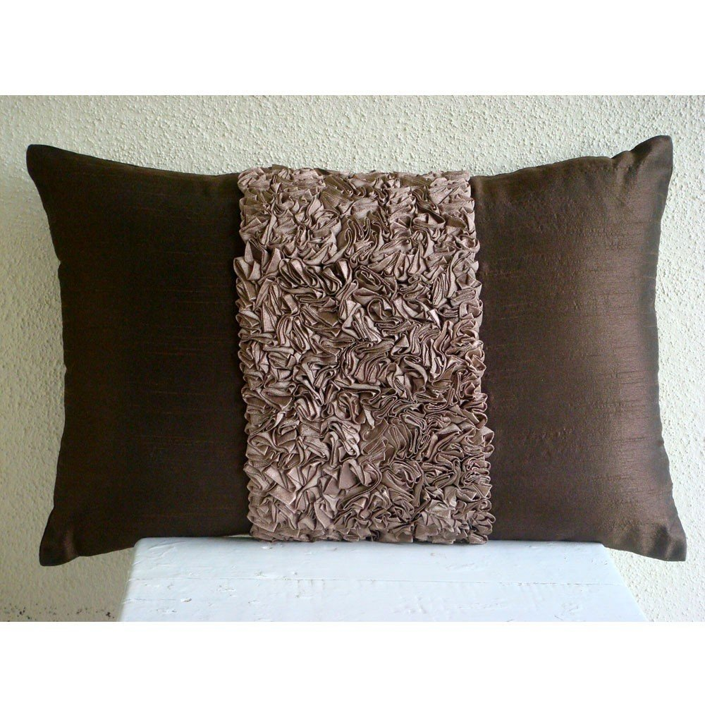 "Luxury Brown Lumbar Pillow Cover, Textured Ribbon Lumbar Pillow Cover, 12""x16"" Lumbar Pillow Cover, Rectangle Silk Lumbar Pillow Cover, Modern Lumbar Pillow Cover - Chocolate Cream"