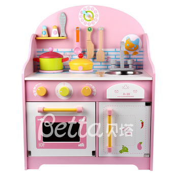 Wooden Kids Kitchen Set Toy, Children Pretend Toy Kitchen Sets