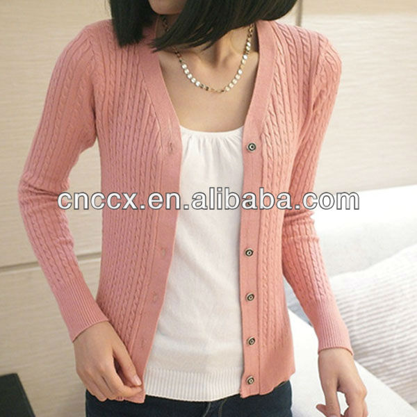 13stc5023 Ladies Fancy Design Thick Knitted Sweater Cardigan