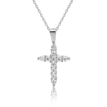 China supplier custom Christian Jewelry classic style pave white zircon large sterling silver cross pendant