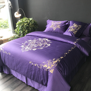 100% Egyptian Cotton Luxury Bed Sheets Embroidered Hotel Bedding Set
