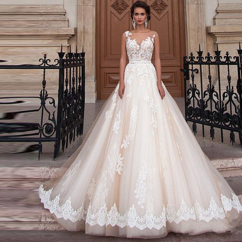 FA14 Vestido De Novia A Line Lace Wedding Dress Sexy Plus Size Sheer Back Bridal Dresses