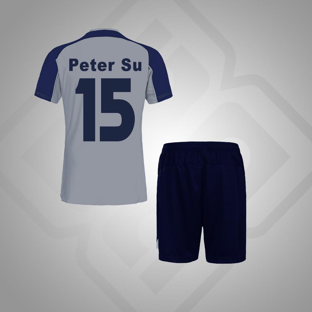 51d3838839160 Gris plata Azul Marino personalizado conjuntos de uniformes de fútbol  camisetas de fútbol personalizadas