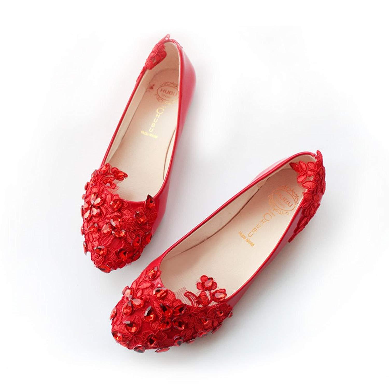 07d962c5e Get Quotations · Women s Wedding Bridal Party Lace Crystals Ballet Flats  Shoes