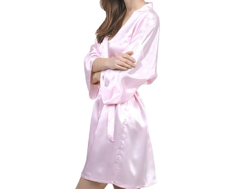 Get Quotations · Jewelryfinds Fashion Women Faux Slik Satin Kimono Belt  Bathrobe Brides Maid Robes Nightdress Pajamas Nightgown House 894d9ce45
