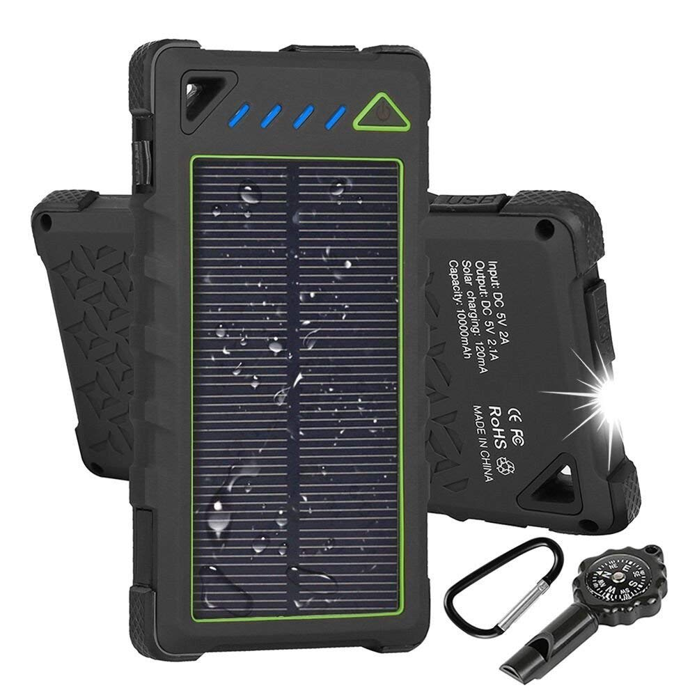 Hobest Solar Charger 10000mAh,Water-resistant Outdoor Solar Power Bank with LED Flashlight,Dual USB Portable Charger Solar for Smartphones,GoPro Camera,GPS and Emergency Travel (Green)