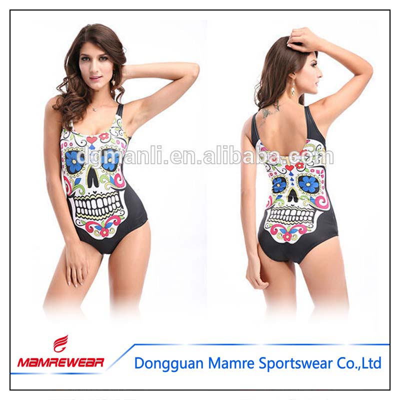 Sexy colourful skulls swimming suit,nice skulls swimming wear,manufacture of sublimation Leotard supplier