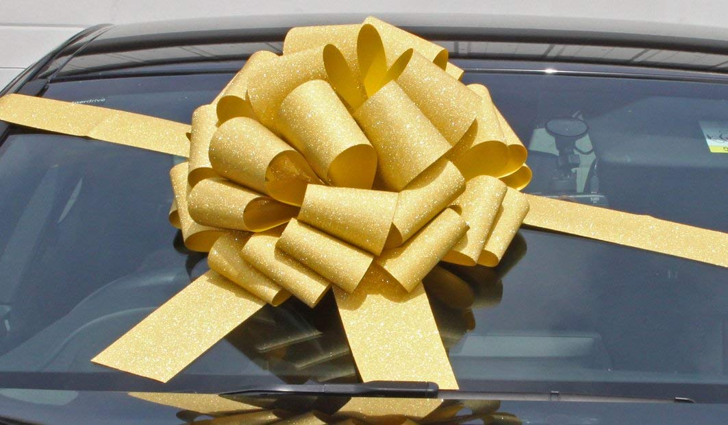 MEGA GIANT CAR BOW (16 inch) + 6 METRES of RIBBON for Cars, Bikes, Big Birthday & Christmas Gifts - GLITTER GOLD