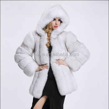 Fashion Blue Fox Fur Coat With Hood For Women Long Fox Fur Jacket ...