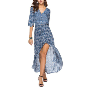 wholesale women's button print sleeve sexy summer casual dress