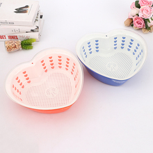 multifunctional plastic three-tier Love shape fruit and vegetable basket draining sink Wash rice