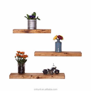 Handmade Rustic Pine Wood Floating Shelves Set Of 3 And Wall Shelf