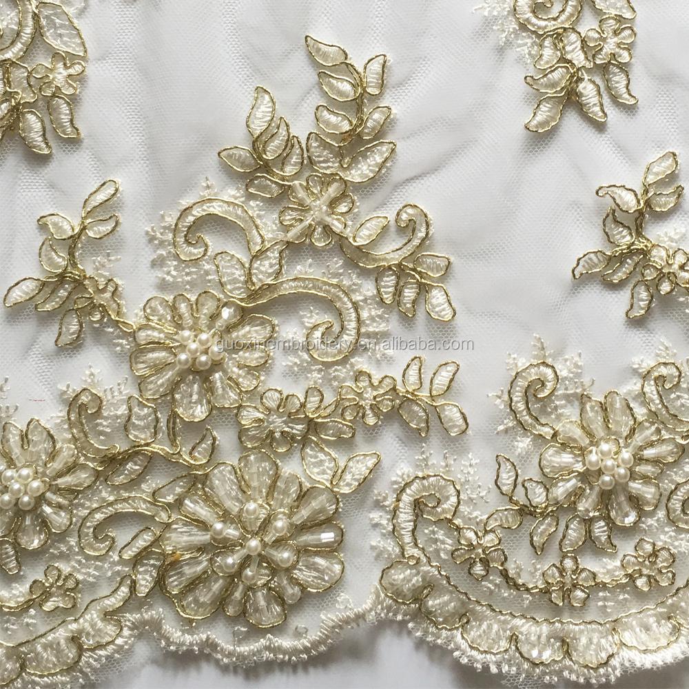Вышивка золотой нитью и бисером