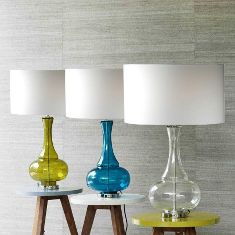 Discount Lamp: 100% New Style Blue Glass Tinned Base White Round Shades