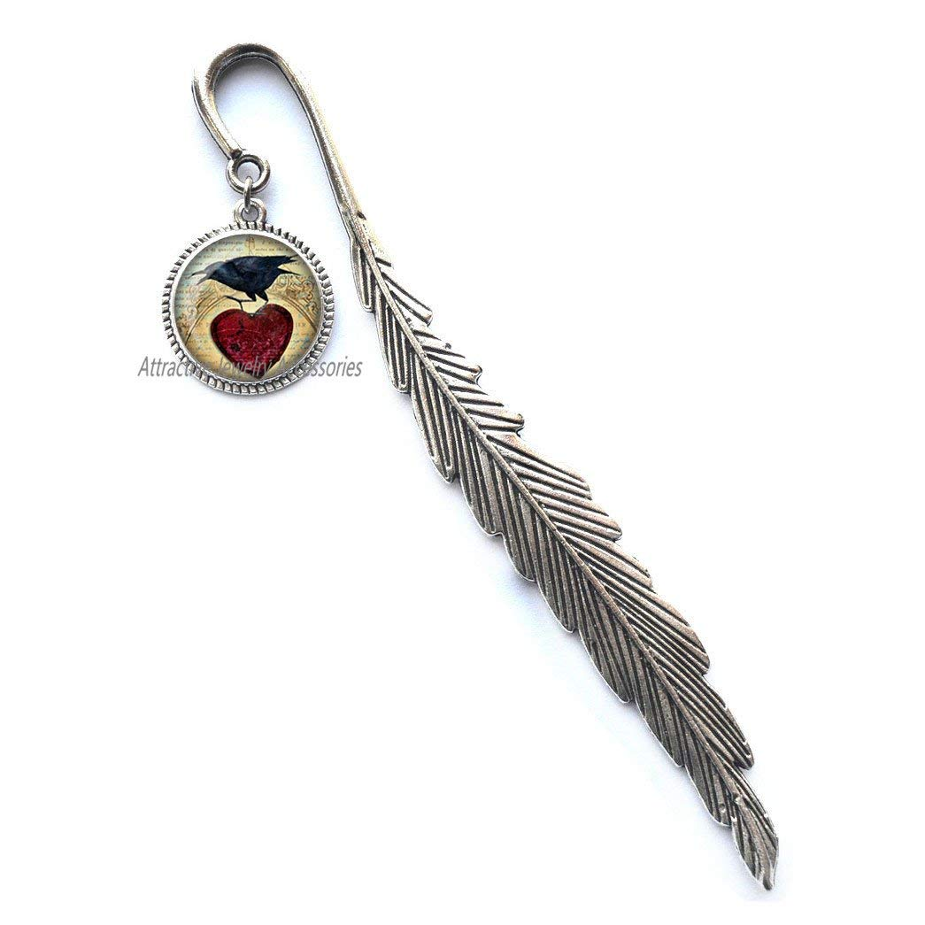 Raven Bookmark Raven Jewelry Bird Nest Bookmarker Wearabel Art Raven Raven with Heart Blackbird Jewelry Raven Jewelry,QK025 (Q1)