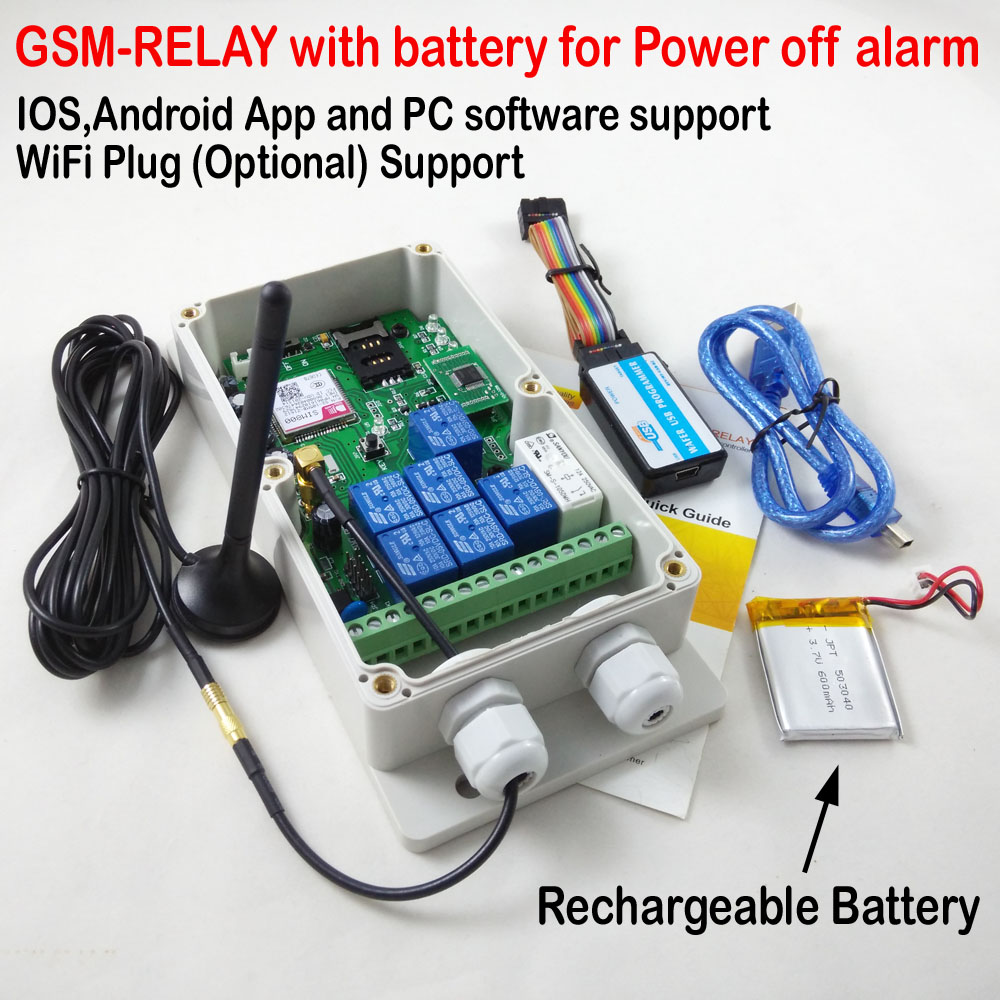 New GSM Controller GSM-RELAY 4G/3G/GSM Remote door/gate/garage opener via SMS/Free Call Rechargeable Battery for power off alarm