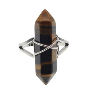 New Fashion Natural Semi Precious Stone Tiger Eye Hexagonal Prism Beads Wrapped Silver Wire Chakra Charms Crystal Rings