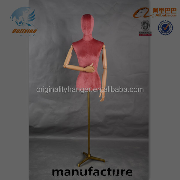 female mannequin velvet flocked half body gold metal base