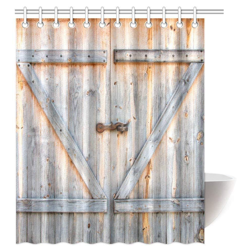 Get Quotations Beauty Decor Rustic Country Barn Wood Door Shower Curtain Set Old Wooden Garage American Style