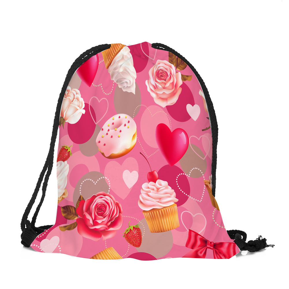 Valentine's day love pattern beam pocket hot style backpack bag shopping receive beam line bags sell like hot cakes