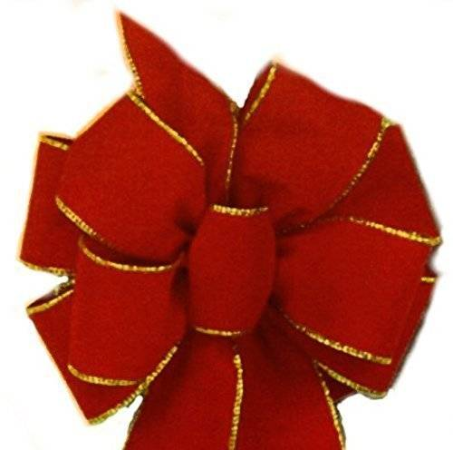 """6 Red Gold Wired Bows ($9.99 ea.) FREE SHIPPING Red Velvet Gold Wired Edge Christmas Bow 10""""x 26"""" 