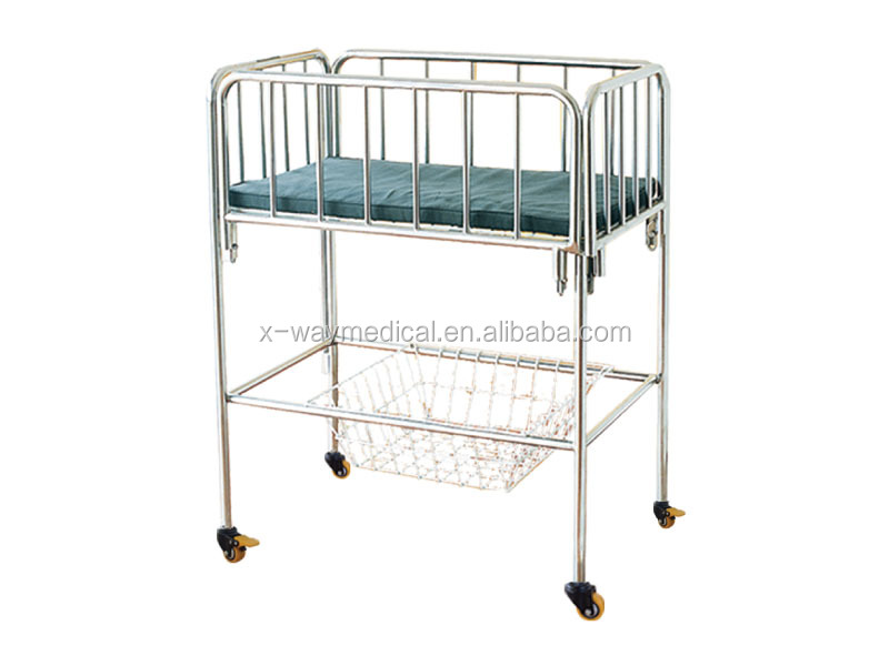 Quality Stainless steel Baby Crib with universal wheel and basket for infant