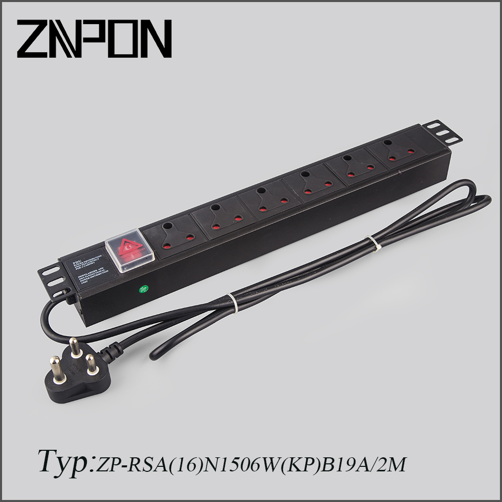 "19"" South Africa 6 Way PDU Socket"