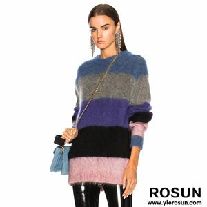 Women Winter Colorblock Strips Mohair Wool Sweater