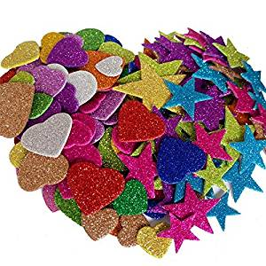Diy Craft Craft Star 1pack Mixed Color Size Foam Glitter Stickers Star Shapes Wedding Decoration Crafts Heart Shapes DIY Decoration Birthday Party (Random)