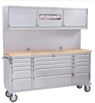 Manufacuturing Us General Tool Box With Wood Top Stainless Steel