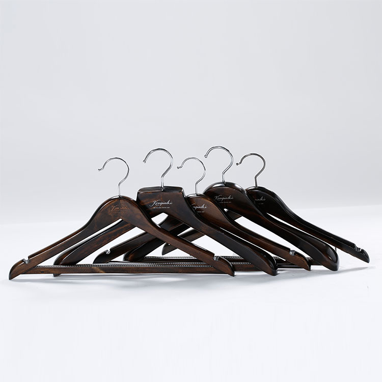Durable black wooden suit hangers with customized hotel logo