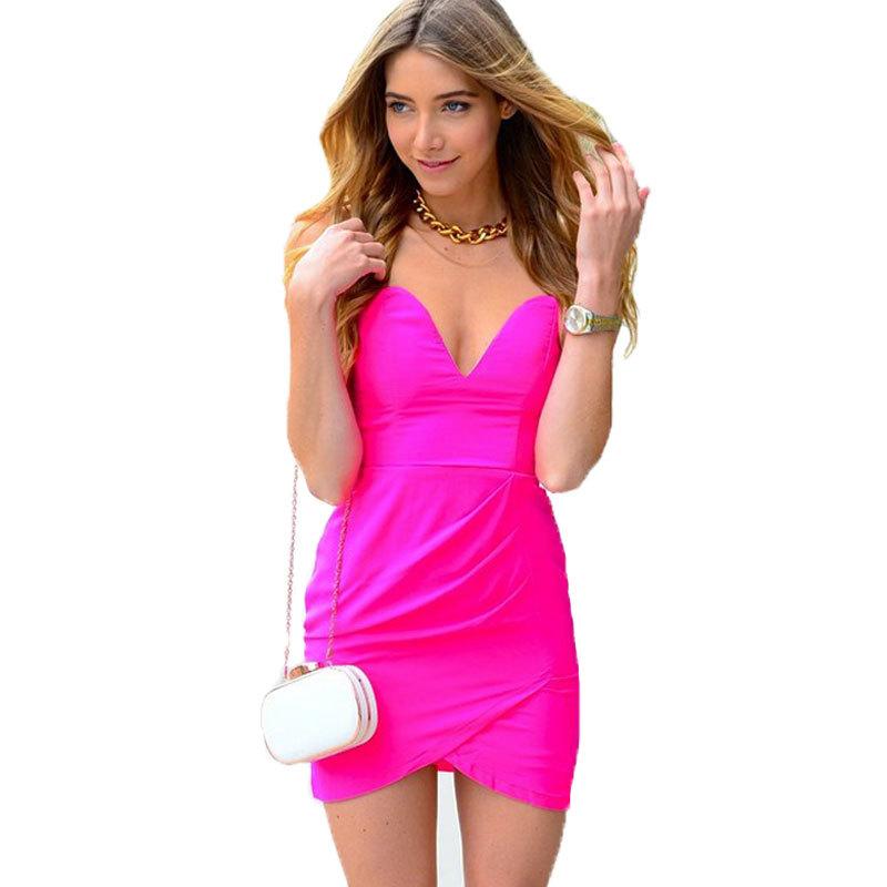d5809c526675 Get Quotations · 2015 New Women Summer Sexy Deep V Strapless Dress Bustier Slim  Pencil Bondage Dresses Clubwear Party
