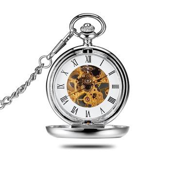 cbc6d68bd86 Personalizado Esqueleto Mecânicos Meio Meio Caçador Do Vento Relógio de  Bolso Algarismos Romanos Do Vintage Mens
