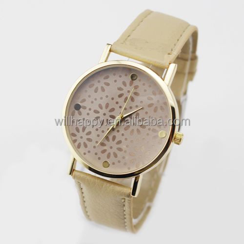 multicolor fashion most hot sale attractive leather strap watch for ladies(WJ-4085)