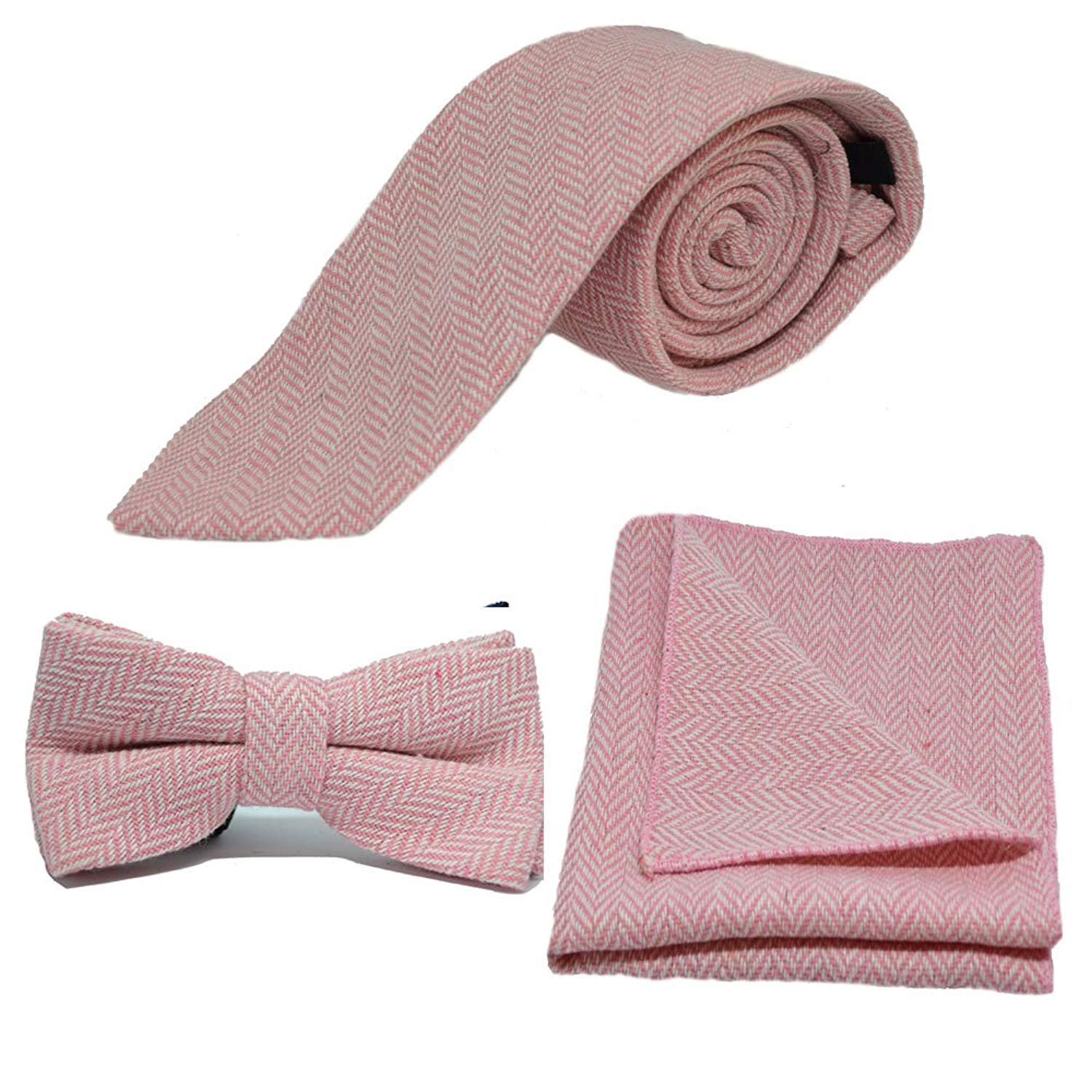 91db9d9c9153 Get Quotations · Candy Pink & Cream Herringbone Necktie, Bow Tie & Pocket  Square Set