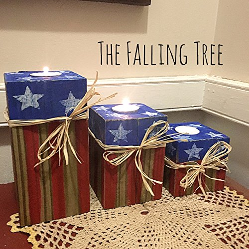Rustic Candle Set of 3 Tier Wooden American Flag Prim Tea Light Candle Holders