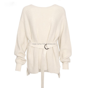 Whosale Small MOQ Wool Blend Pointelle Design Ladies Knit Jumper Sweater  With Belt 193c0f02e