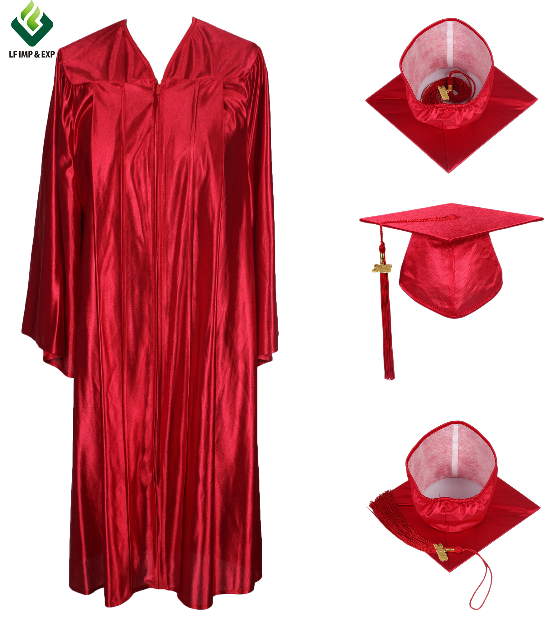 Academic Robe Graduation Gown and Cap with Tassel for Adults- Shiny Red, All colors available